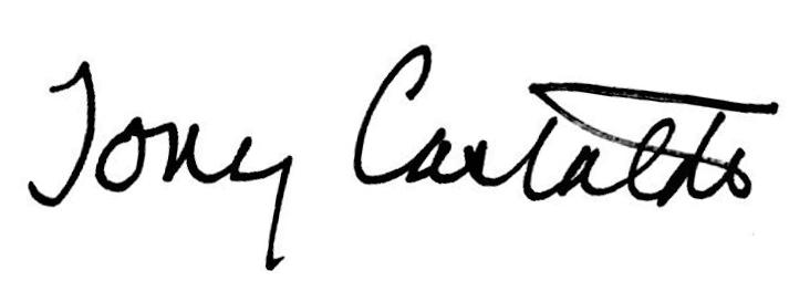 Tony's signature